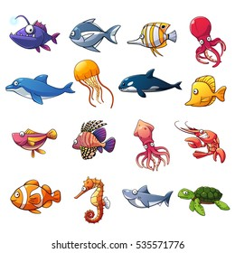 Cartoon collection of fish and sea animals, vector art and illustration.