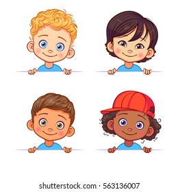 Cartoon collection of little boys portraits, various human races. Vector children characters of different nationalities with billboard.