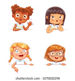 Cartoon collection of little girls portraits. Children of different nationalities and various gestures holding empty white board. Lots of copyspace for your text and logo. Place for text. Blank banner