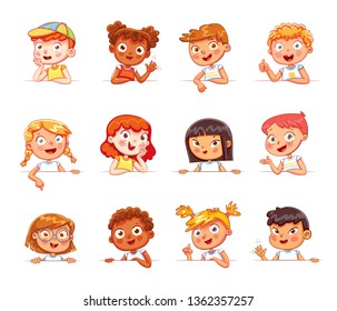 Cartoon collection of little kids portraits. Children of different nationalities and various gestures holding empty white board. Lots of copyspace for your text and logo. Place for text. Blank banner