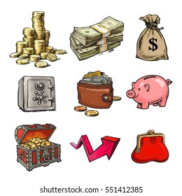 Cartoon collection of money symbols. Safe, chest with treasures, piggy bank, stack of bills, stack of coins, sack of dollars,  purse, wallet, rising arrow. Hand drawn vector illustration isolated.