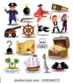 Cartoon collection of pirate icons isolated on a white background