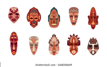 Cartoon Color African Ethnic Tribal Masks Icon Set Flat Design Symbol of Culture. Vector illustration of Icons