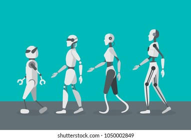 Cartoon Color Android Robots Set Cyborg Technology and Futuristic Intelligence Machine Concept Flat Design Style . Vector illustration of Robot