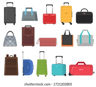 Cartoon Color Bag Sign Icon Set Include of Suitcases, Backpacks and Bags. Vector illustration of Icons