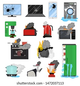 Cartoon Color Broken Appliance Icon Set Include of Laptop, Refrigerator, Microwave. Vector illustration of Home Damaged Equipment or Gadget Icons