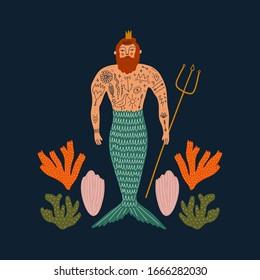 Cartoon color card with cute flat cartoon sea boy mermaid or merman illustration. Perfect for invitation or leaflet design, Birthday postcard and Father Day, poster, t-shirt. King concept. Vector clip