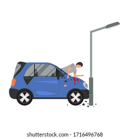 Cartoon Color Character Person and Car Accident Concept. Vector illustration