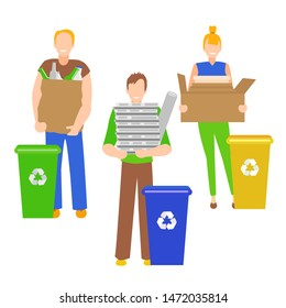 Cartoon Color Characters People Holding Recyclables Recycling Trash Concept Flat Design. Vector illustration of Person with Paper and Glass