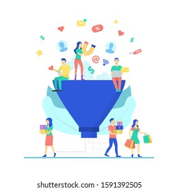 Cartoon Color Characters People and Marketing Funnel Concept Flat Design Include of Customer, Magnet and Laptop. Vector illustration