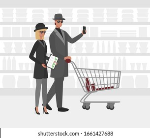 Cartoon Color Characters People and Mystery Shopper Concept Flat Design Include of Checklist and Cart . Vector illustration