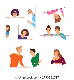 Cartoon Color Characters People Peeking Concept Flat Design Style Symbol of Curiosity. Vector illustration