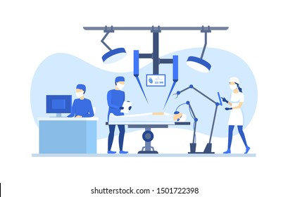 Cartoon Color Characters People Robotic Surgery Concept Flat Design Include of Surgeon, Robot and Patient. Vector illustration
