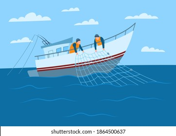 Cartoon Color Characters Person Male Fisherman on Sea Concept Flat Design Style. Vector illustration of Fishermen on a Boat