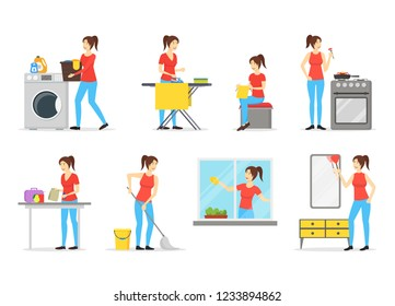 Cartoon Color Characters Woman Housewife Set Cooking, Cleaning and Ironing Concept Element Flat Design Style. Vector illustration
