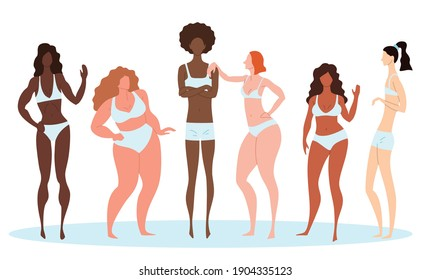 Cartoon Color Characters Women Different Body Types Concept Flat Design Style Include of Hourglass or Rectangle . Vector illustration