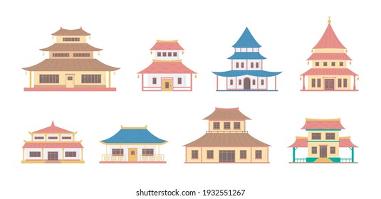 Cartoon Color China House Object Icon Set Traditional Oriental Architecture Concept Flat Design Style. Vector illustration