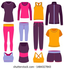 Cartoon Color Clothes Fitness Icon Set Include of Comfortable Elastic Pants, Jacket and Tights. Vector illustration of Icons