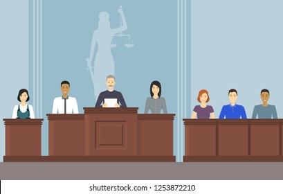 Cartoon Color Court Building Inside Interior with People Courthouse Justice Concept Element Flat Design Style. Vector illustration