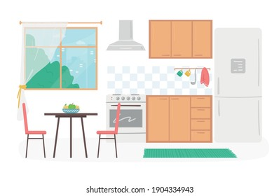 Cartoon Color Cozy Kitchen Interior Inside Concept Flat Design Style Include of Modern Furniture. Vector illustration