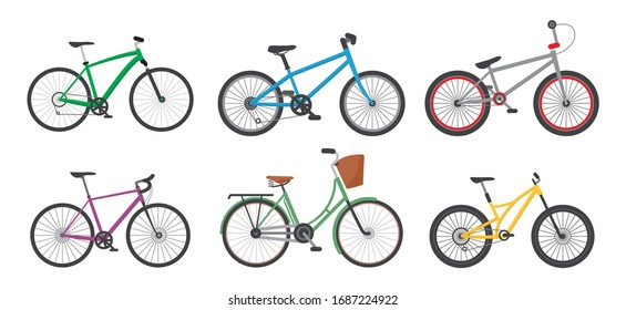 Cartoon Color Different Bicycles Icon Set for Urban, Sport and Mountain Flat Design. Vector illustration of Icons