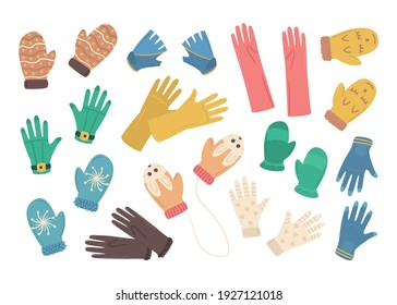 Cartoon Color Different Gloves Icons Set Concept Flat Design Style. Vector illustration of Glove and Mitten Pair Icon