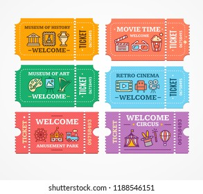 Cartoon Color Different Tickets Icon Set Museum of Art or History, Amusement Park and Cinema Concept Flat Design Style. Vector illustration
