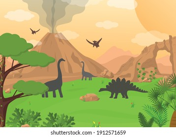 Cartoon Color Dinosaurs and Landscape Scene Concept Flat Design Style. Vector illustration of Wild Natural Background