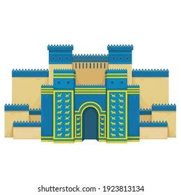 Cartoon color drawing: Ishtar Gate. Ancient sacred temple. Symbols of Babylon, Assyria, Mesopotamia. Vector illustration Isolated on white background.