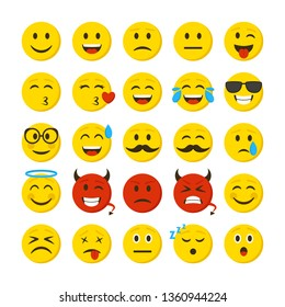Cartoon Color Emoticons Sign Icon Set Include of Sad, Smiley, Angry, Love and Cry Expression. Vector illustration of Icons