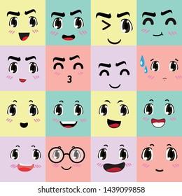 Cartoon Color Emoticons Sign Icon Set