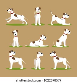 Cartoon Color Funny Puppy on Green Grass Icons Set Pet Concept Flat Design Style. Vector illustration of Dog