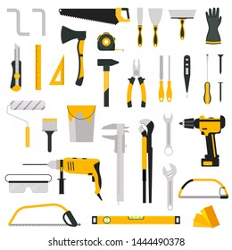 Cartoon Color Hand Tool Icon Set Include of Screwdriver, Hammer, Pliers, Wrench and Drill. Vector illustration of Icons