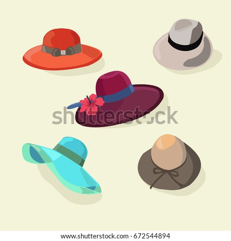 7c0a6d4f1bca3 Cartoon Color Hats Set Fashion for Men and Women Style Accessories Flat  Style. Vector illustration - Vector