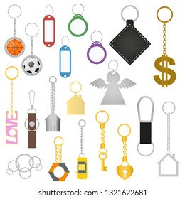Cartoon Color Keychains Different Types Set Include Breloque of Heart, Key, Home, Car, Angel and Ball. Vector illustration