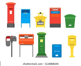Cartoon Color Mail Box Set Post Concept Flat Design Style Symbol of Delivery Letter. Vector illustration of Mailbox