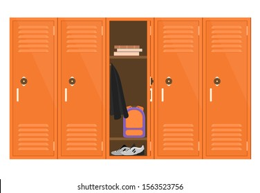 Cartoon Color Metal School Lockers with One Open showing Book and Backpack Concept Flat Design. Vector illustration