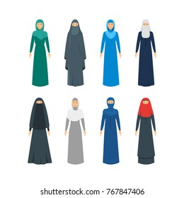 Cartoon Color Middle East Women Religious Apparel Set Traditional Dress Concept Flat Design Style. Vector illustration of Arabic Clothes
