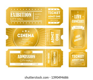 Cartoon Color Mockup Template Golden Tickets Set Concept to Access Element Flat Design Style. Vector illustration