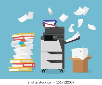 Cartoon Color Multifunction Scanner Printer Concept for Home and Office on a Blue Background. Vector illustration