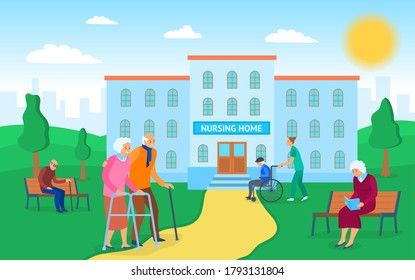 Cartoon Color Nursing Home Building and Characters People Concept Flat Design Style Symbol of Elderly Care. Vector illustration