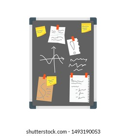 Cartoon Color Office Wall Black Board Pin Note and Reminder Concept Flat Design Style. Vector illustration of Noticeboard