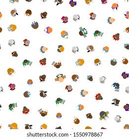 Cartoon Color People Standing Top View Seamless Pattern Background on a White. Vector illustration