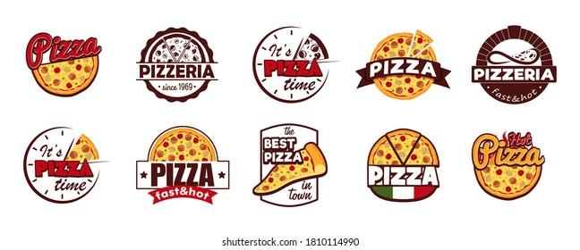 Cartoon Color Pizzeria Label Badge Sign Set Concept Flat Design Style. Vector illustration of Pizza Sticker