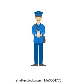 Cartoon Color Postman Male Character Person holding Envelope Delivery Occupation and Profession Concept Element Flat Design Style. Vector illustration