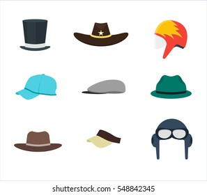 Cartoon Color Professions Hats or Cap Set for Men. Flat Design Style Vector illustration