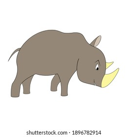 Cartoon color rhinoceros outline. Vector color illustration isolated on white background. Decoration for greeting cards, posters, flyers, prints for clothes.