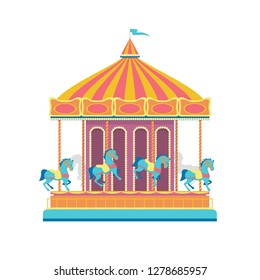 Cartoon Color Round Merry Go Round Carousel Carnival or Circus Amusement Entertainment Concept Flat Design. Vector illustration