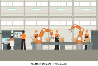 Cartoon Color Smart Factory Inside Interior Concept with Worker and Robot Element Flat Design Style. Vector illustration