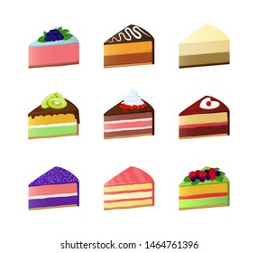 Cartoon Color Sweet Cake Dessert Slice Icon Set. Vector illustration of Cheesecake with Creme and Berries Icons